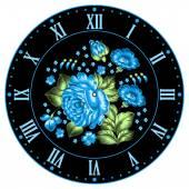 Russian Zhostovo clock face — Stock Vector