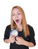 Obchodní žena s budíkem — Stock fotografie