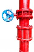 Red gas pipe with blue valve — Stock Photo