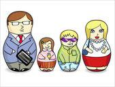 Matryoshka dolls  family — Stock Vector