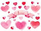 Hearts with ribbon. — Stock Vector