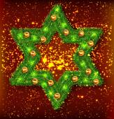 Christmas wreath, star — Stock Vector
