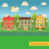 Suburb street with family houses — Stock Vector