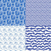 Set or blue seamless patterns — Stock Vector