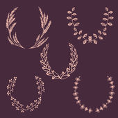 Set of  hand-drawn vector wreaths — Stock Vector