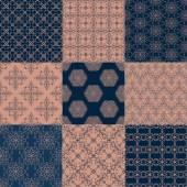 9 つのシームレスなパターンのセット — ストックベクタ