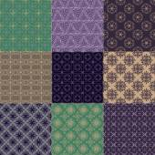 Set of nine seamless patterns — Stock Vector