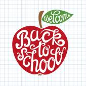 Back to school hand lettering card — Stock Vector