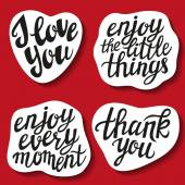 Set of hand lettering stickers with popular quotes — Stock Vector