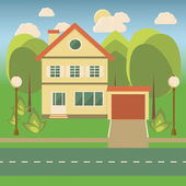 Family house in flat style — Stock Vector