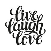 Hand drawn typography poster  'live laugh love' — Stock Vector