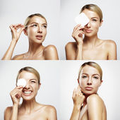 Woman cleansing skin — Foto Stock