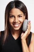 Woman exfoliating skin — Foto Stock