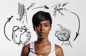 Black woman and drawing pictures — Stock Photo