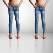 Woman in skinny jeans — Stock Photo