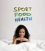 Woman with text Sport Food Health — Stock Photo
