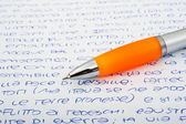 Pen with letters — Stock Photo