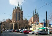 St. Mary's Cathedral and St. Severus' Church, Erfurt, Thuringia, — Foto de Stock