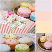Different delicious macaroons in collage — Stock Photo