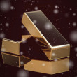 Gold bar on black background (high resolution 3D image) — Stock Photo #60573413