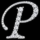 P Letter made from diamonds and gems — Foto de Stock
