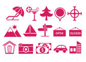 Pink Travel Icons — Stock Vector
