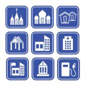 Collection of City and Town Buildings — Stockvector