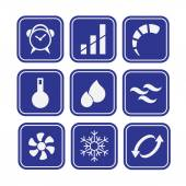 Set of air conditioning related icons — Stock Vector