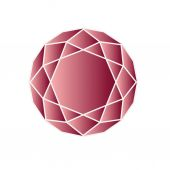 Red ruby in round shape — Stock Vector