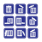 Set of trash can icons — Stock Vector