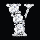 Y Letter made from diamonds — Stockvektor