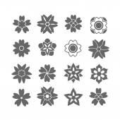 Ikony czarny kwiat — Wektor stockowy