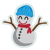 Snowman in blue hat — Stock Vector