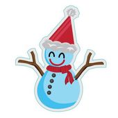 Snowman in christmas hat — Stock Vector