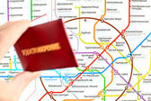Moskvas tunnelbana karta och Id-kort av ryska Fss — Stockfoto