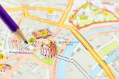 Moscow map detail - focus on Moscow city center — Stock Photo