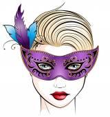 Mujer enmascarada — Vector de stock