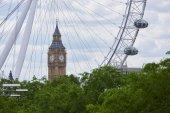 Big Ben with London Eye — Stock Photo