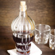 Bottle wine and two glasses, selective focus — Stock Photo #56400191
