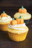 Halloween cupcakes decorated with fondant — Stock Photo