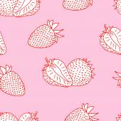 Strawberry doodle seamless — Stock Vector