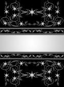 Vintage black floral background with ornaments. — Vector de stock