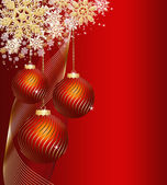Red christmas decorative background — Vector de stock