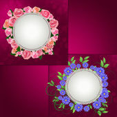 Design photo frames with flowers . — Vettoriale Stock