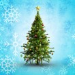 Composite image of christmas tree on white background — Stock Photo #53894801