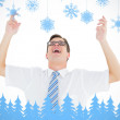 Geeky happy businessman with arms up — Stock Photo #53895279