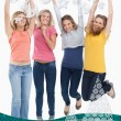 Smiling celebrating girls jumping up — Stock Photo #53896095