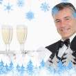 Waiter holding tray with glasses full of champagne — Stock Photo #53896605