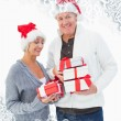 Festive mature couple in winter clothes — Stock Photo #53896683