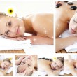 Collage of an attractive young girl being massaged — Stock Photo #53896883